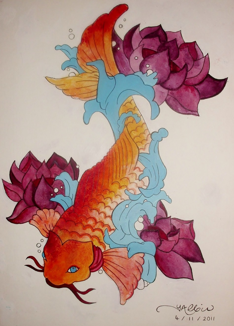 Image gallery japanese koi fish paintings for Japanese fish painting